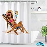 Nyngei Sommer-Freizeit-Bikini-Mädchen-wasserdichtes Gewebe-Duschvorhang-Badezimmer mit Haken 183X183CM