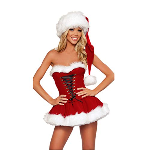 Sexy Erwachsene Für Weihnachtskostüm - CVCCV rotes Röhrenoberteil Weihnachtskleid Cosplay Weihnachtskostüm Performance Uniform Polyester Stoff Für Frauen
