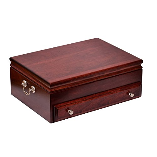 Bounty Flatware Chest, Solid American Cherry Hardwood with Rich Mahogany Finish & Anti-Tarnish Lining. Made in USA by AMISH Craftsmen! - Made In Besteck Usa