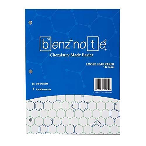 Benznote, fogli per quaderno ad anelli adatto per lezioni di chimica organica e biochimica