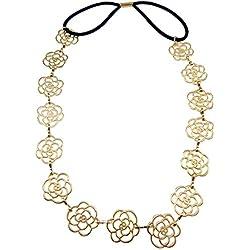 Golden Glamour Girlz Vintage metálico de margaritas elástica de eslabón con Bandeaux pañuelo para el pelo