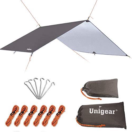 Unigear Zeltplane, Tarp für Hängematte, wasserdicht mit Ösen + 6 Erdnägel+ 6 Seilen, Regenschutz Sonnenschutz für Ourdoor Camping MEHRWEG (Kaffee-300 x 300cm) -