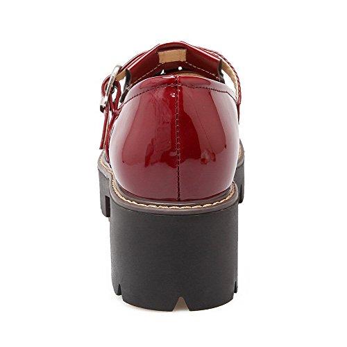 VogueZone009 Femme Couleur Unie Verni à Talon Correct Boucle Rond Chaussures Légeres Rouge Vineux