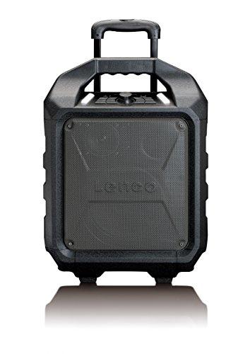 Lenco PA-90 PA-Anlage, mobil mit Akku und Bluetooth (USB, AUX, Mikrofon-Anschluss, UKW-Radio, 60 Watt RMS), schwarz