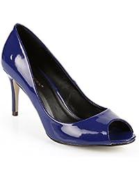 Ideal Shoes - Escarpins open toes vernies Ocelia
