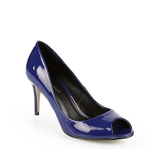 Ideal Shoes - Escarpins open toes vernies Ocelia Bleu