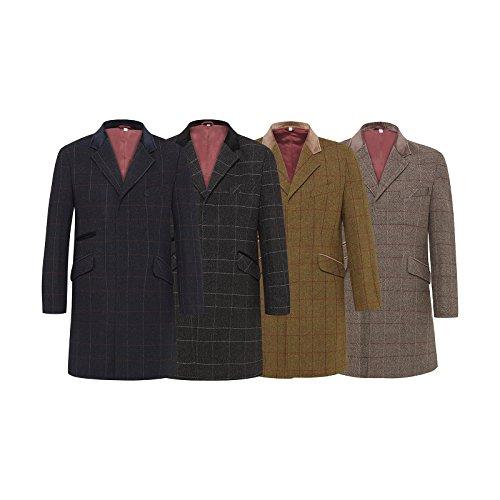 Herren Wollmischung Enge Passform Kariert Mantel Fischgrätenmuster Tweed Crombie Luxus Mantel schwarz-scheck