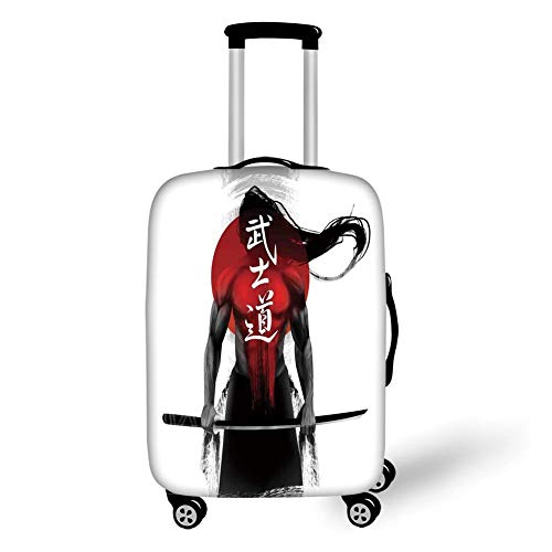 Travel Luggage Cover Suitcase Protector,Japanese,Samurai Warrior Figure Sunburst Background Ronin Japan Indigenous War Theme,Red Black White,for Travel -