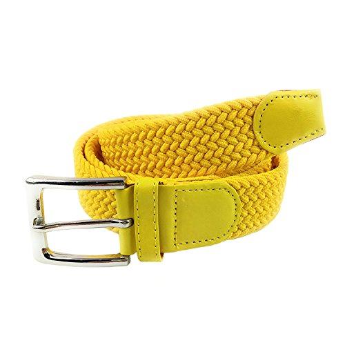 MYB Cinturón elástico trenzado para hombres y mujeres - múltiples colores y tamaños (105 - 110 cm, Amarillo)