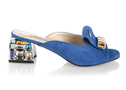 Marino Fabiani 6730 Blue Wildleder Sommer Italienische Designer Damen Sandalen, Blau (blau), 38 EU - Pointy Toe Knee High Boots