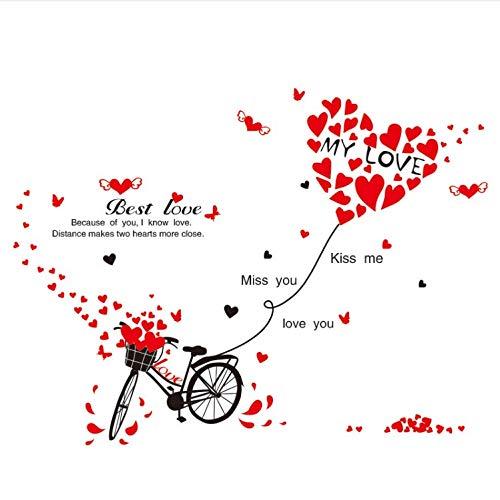 Miss Zhang's shop Wandsticker Fahrrad Wandaufkleber Red Love College Speicher Für Wohnzimmer Zitate Aufkleber Removable Wandaufkleber Vinyl Wandkunst 86X117 cm -