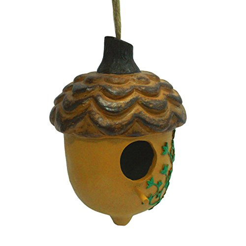 wildbird-care-pet-supplies-resin-acorn-bird-house-with-leaf-brh02-brown