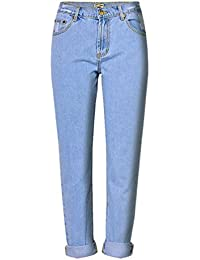 42dcb8cf4ba7 Zhiyuanan Donna Lunga Jeans Alta Vita Dritti Denim Pantaloni Baggy Leisure  Pantalone Strappati