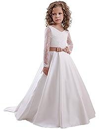 a6103a35d773 HotGirls V-Collo Paillettes Girl Dress Fiori per Il Matrimonio con L Arco  Sash