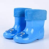 Unisex Kids,Classic Rainy Season welington Boots Kids Cute Shoes Infant Children Baby Cartoon Blue PVC Elephant Non-Slip Rubber Waterproof Warm Boots Rain Shoes