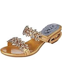 Damen Schuhe Sommer Sunday Frauen Strass Slipper Reizvolles High Heels Sandalen Kristall Party Schuhe Flip Flops...
