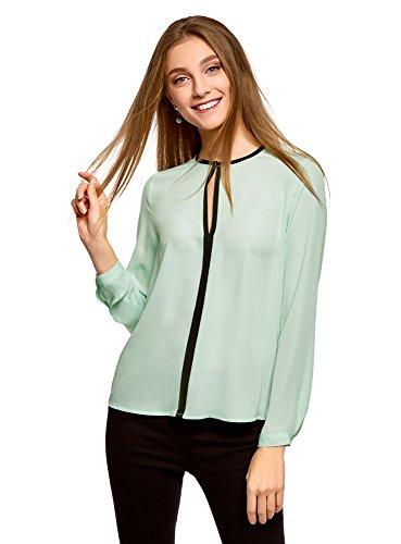 oodji Ultra Mujer Blusa de Tejido Fluido con Acabado en Contraste, Verde, ES 38 / S