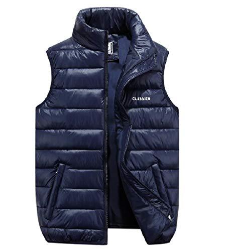 CuteRose Men Ultra Light Weight Waistcoat Vest Zip Up Coats PEA Jackets Dark Blue 4XL