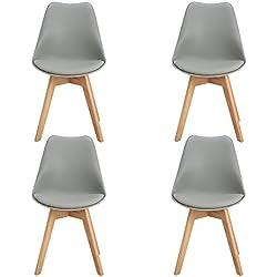 Pack de 4 Silla de Comedor escandinava, asiento acolchado en color gris