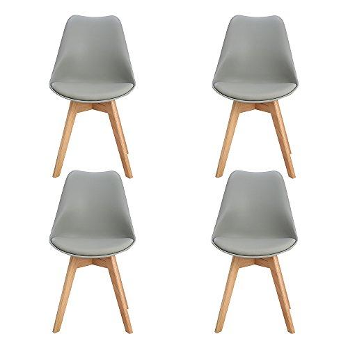 H.j wedoo set di 4 tulip pranzo sedie, design tower con schienale ecopelle legno di faggio - grigio