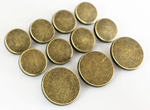 YCEE 11 Pieces Vintage Antique Brass (Bronze) Plain Metal Blazer Button Set - Flat Surface - For Blazer, Suits, Sport Coat, Uniform, Jacket by YCEE Studio - Antique Blazer