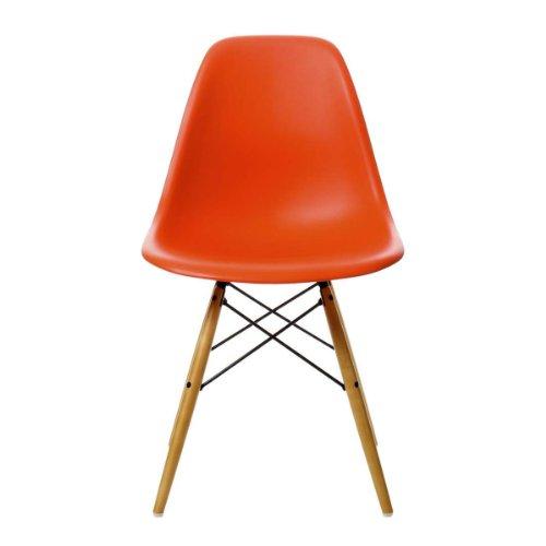 Vitra 440023000203 Stuhl DSW Eames Plastic Sidechair Gestell Ahorn, rot
