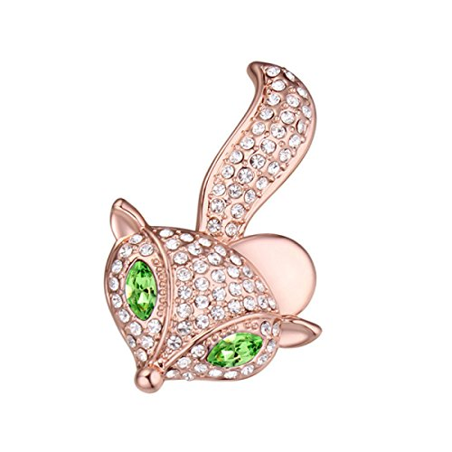 Cute little fox brooch - swarovski elements cristallo austriaco spilla pin personalità gioielli decorazione del partito ornamento,green-3.7*2.4cm
