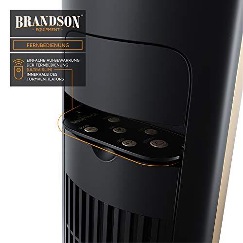 Brandson – Turmventilator mit Fernbedienung 108 cm | Ventilator 10° neigbar | Standventilator mit Oszilation | 65° oszillierend | 3 Geschwindigkeiten 4 Lüftungs-Modi Timer | GS | Schwarz/Gold Bild 3*