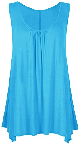 Islander Fashions Femmes Sans Manches Flare Hanky Hem Top Femmes Scoop Neck Ruch Flare Dcontract Top S/3XL Turquoise
