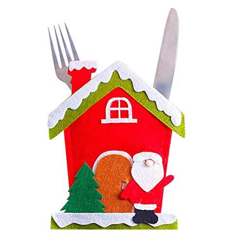 Rawdah* Set De Noël Et Fourchette Set De Couverts Couverts De Table Santa Claus Ensemble Couteau Et Fourchette De Noël