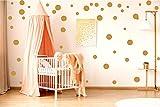 ewtshop Lot DE 48 Stickers muraux pour Chambre d'enfant Motif Pois Doré