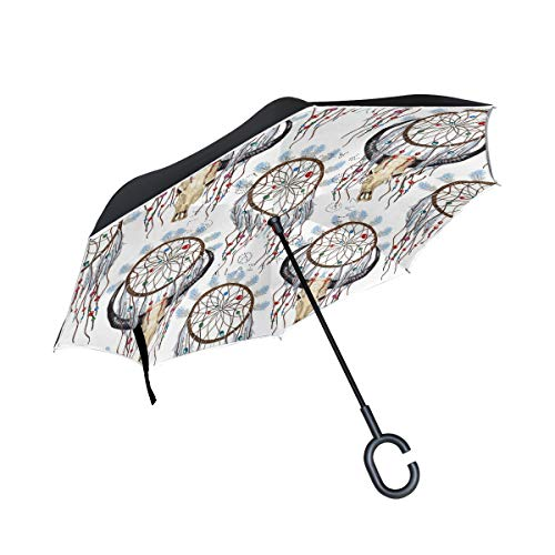 Paraguas plegable con diseño de calavera y atrapasueños con plumas psicodélicas y bohemias invertidas, doble capa, resistente al viento, paraguas para coche, lluvia, exterior, con mango en forma de C