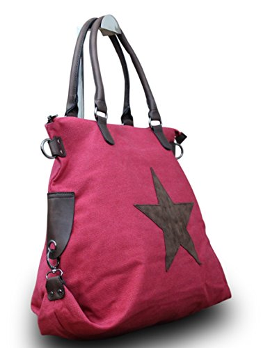 My-Musthave, Borsa tote donna Rosa Rosa Stern Weiß Centre rosso
