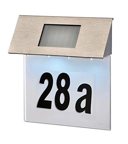 Jardinion Solar Leucht Hausnummer Schild Variable Zahlaufkleber Edelstahl 4 LED inkl. Akku