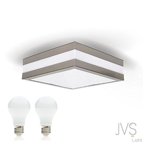 LED Deckenleuchte Bad-Lampe Aussen-Leuchte PROVANCE E27 230V IP44 (inkl. 2x LED 13W Warmweiss) LED Lampe Wandleuchte LED-Deckenleuchte Außenleuchte Wandstrahler LED Leuchte Aussenbeleuchtung Wohnzimmerlampe für Badezimmer Küche Flur Badlampe Badleuchte Eckig Quadratisch