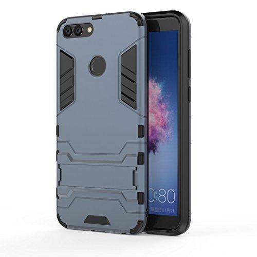 Ougger Handyhülle für Huawei P smart Hülle Schale Tasche, Schutzhülle [Video-Standfuß] Leicht Rüstung Bumper Cover Hart PC + Weich TPU Silikon Gummi Schale für Huawei P Smart (Schwarz)