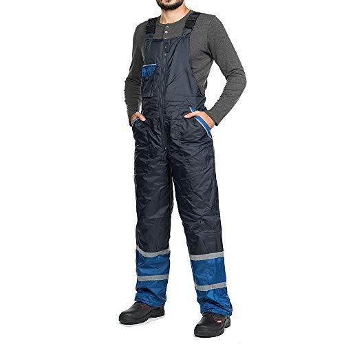 Salopette da Lavoro Uomo Inverno Pantaloni da Lavoro Inverno Impermeabile A Prova di Vento Blu Caldo Bande Riflettenti