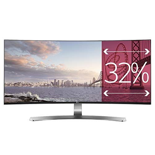 "LG 34UC98 Monitor da 34"", Curvo, 21:9 UltraWide LED IPS, 3440x1440, AMD FreeSync 75Hz, Multitasking, Audio 2.0 14W, Regolazione Altezza, Thunderbolt"