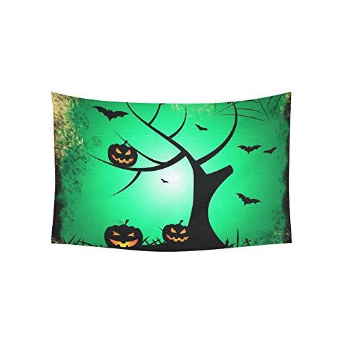 alloween Baum zeigt Trick Treat Kürbis Wandteppiche Wandbehang Blume psychedelischen Wandteppich Wandbehang indischen Wohnheim Dekor für Wohnzimmer Schlafzimmer 60 X 40 Zoll ()