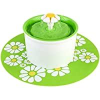 PEDY Pet Flower Water Fountain Automatic Electric Circulating with Silicone pad, 1.6L, Green.