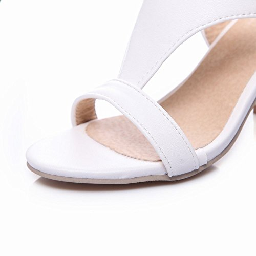 MissSaSa donna sandali col Tacco T-Band Bianco Nero Bianco