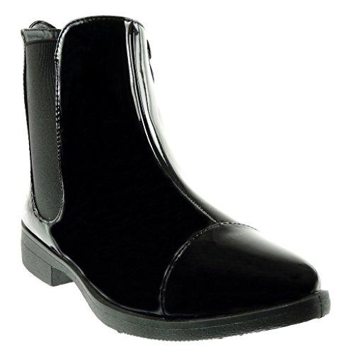 cavalier Moda stivali pioggia verniciato blocco 3 da Stivaletti Angkorly Nero a donna chelsea elastico Scarpe Tacco Scarponcini boots CM EqgES0x8w