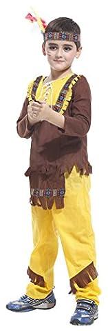 EOZY Indianer Kostüm mit Stirnband Kinder Jungen Fasching Kostüm Halloween Verkleidung L 7-9
