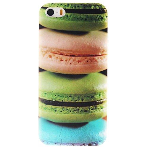 XiaoXiMi Coque iPhone SE Etui en Silicone Caoutchouc Gel pour iPhone SE Soft TPU Case Cover Bumper Housse Souple de Protection Coque Mince Léger Etui Flexible Lisse Couverture Anti Rayure Anti Choc Ho Hamburgers Colorés