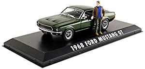 Greenlight Collectibles-Miniatura de Coche Ford Mustang GT Bullitt con Figura Mcqueen (Escala 1/43, 86433, Verde