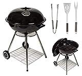 MYLEK Barbecue à Charbon de Bois Portable avec Couvercle et 3 ustensiles de Cuisine - 55,9 cm