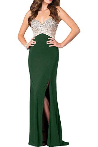 ivyd ressing robe haute qualité strass fente Spaghetti Prom Party robe robe du soir Vert foncé