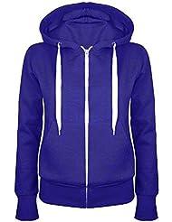Oops Outlet Damen Einfarbig Kapuzenpulli Mädchen Reißverschluss Top Damen Kapuzenpullis Sweatshirt Mantel Jacke Übergröße 6-24