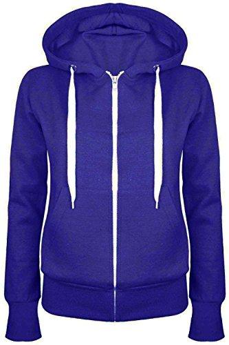 Oops Outlet Damen-Reißverschlussjacke, einfarbig, Hoody, für Damen / Mädchen, Größe 34-52 Gr. XXL (42 ), königsblau