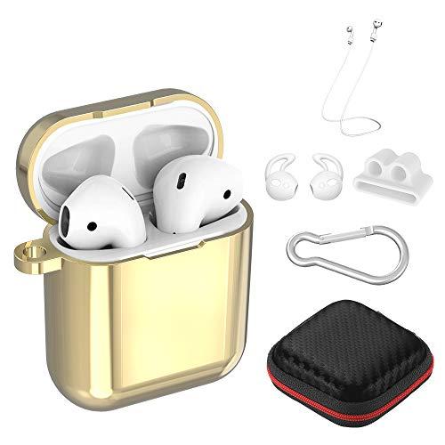 Simpeak für AirPods Schutzhülle Zubehör 6-in-1, Apple Airpods TPU-Beschichtung Überzog Hülle Staubdicht Kratzfestes Gehäuse für AirPods 1und2 Ladekoffer - Champagner Gold